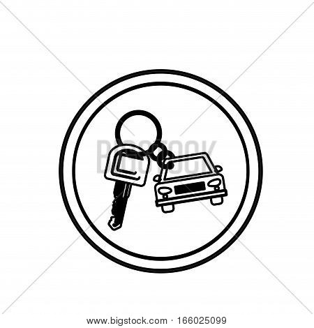 silhouette circular border with car keychain icon vector illustration