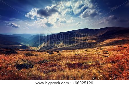 Amazing Panorama Alpine Landscape With And Mountain Ranges. Natu