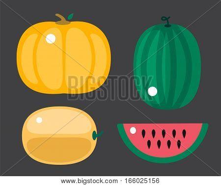 Fresh orange pumpkin and watermelon isolated on white background. Decorative fresh single seasonal ripe food. Thanksgiving stem healthy raw vegetarian vegetable.