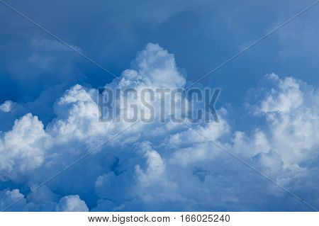 Blue sky and clouds close up sky background