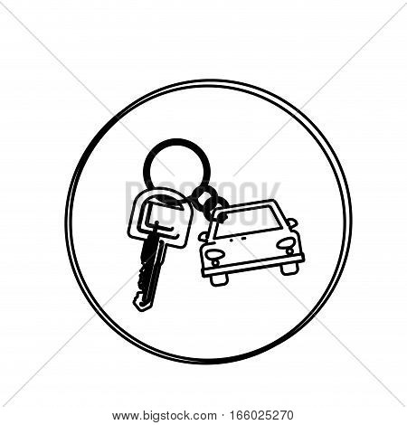 silhouette circular shape with car keychain icon vector illustration