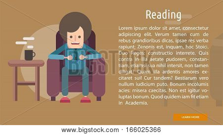 Reading Conceptual Banner | Great flat illustration concept icon and use for education, science, learning, reading and much more.