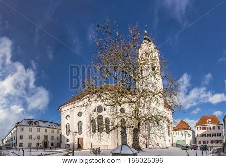 view to church of our landy in small town of Guenzburg in Bavaria. In 1736 the church was rebuilt by Dominikus Zimmermann.