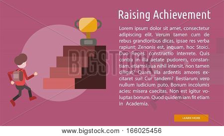 Raising Achievement Conceptual Banner | Great flat illustration concept icon and use for education, science, learning, reading and much more.