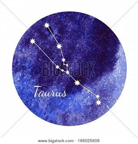 Beautiful vector illustration of watercolor horoscope sign Taurus