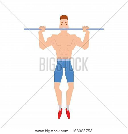 Man doing physical exercises pulling. Hanging on the bar vector. Fitness character isolated on white background. Gym training activity health workout vector illustration.