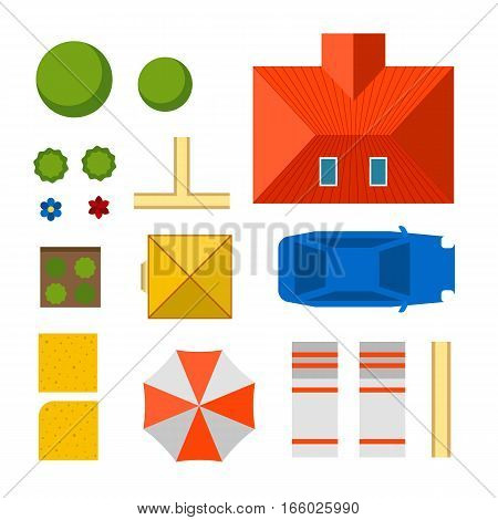 Plan of private house vector illustration. Top view of outdoor home landscape collection. Villa map constructor design building elements vector game sign.
