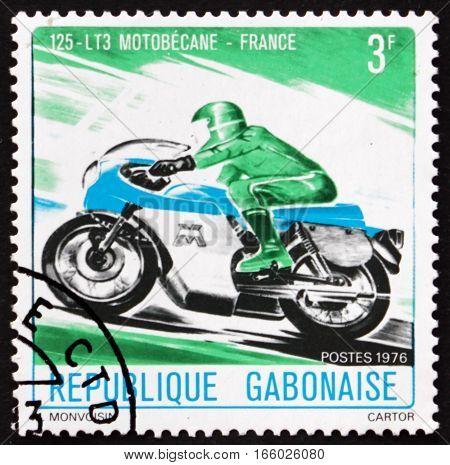 GABON - CIRCA 1976: a stamp printed in the Gabon shows Motorcycle Motobecane France circa 1976