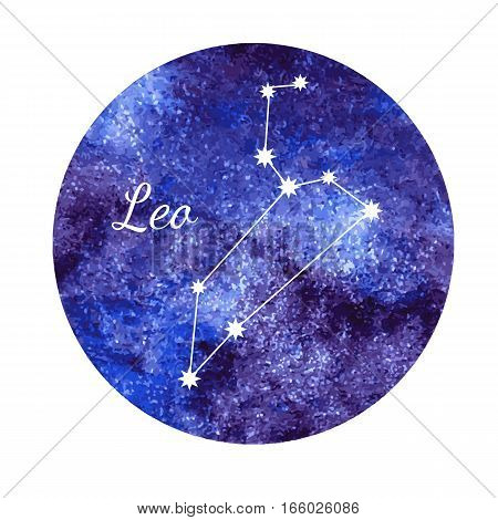 Beautiful vector illustration of watercolor horoscope sign Leo