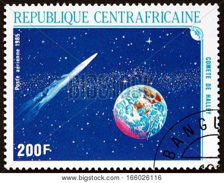 CENTRAL AFRICAN REPUBLIC - CIRCA 1986: a stamp printed in Central African Republic shows Comet and Planet Halley's Comet circa 1986