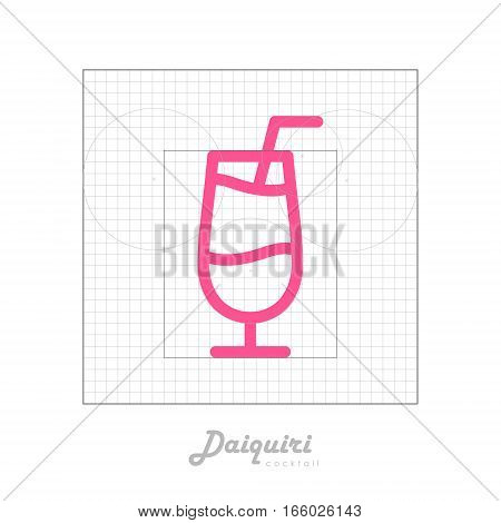 Vector icon of cocktail with modular grid. Daiquiri