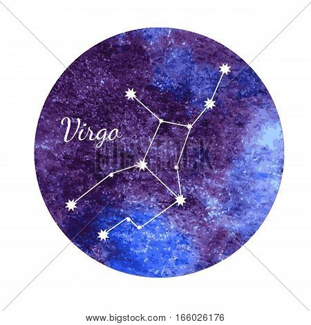 Beautiful vector illustration of watercolor horoscope sign Virgo