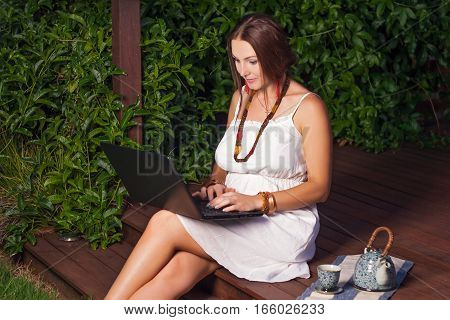Young Woman, Green Wall; Plant, Boho Style,notebook, Laptop, Device, Beauty