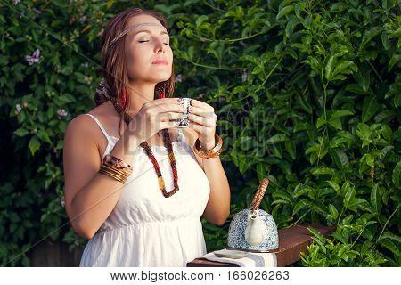 Young Woman, Green Wall; Plant, Boho Style, Tea, Beauty