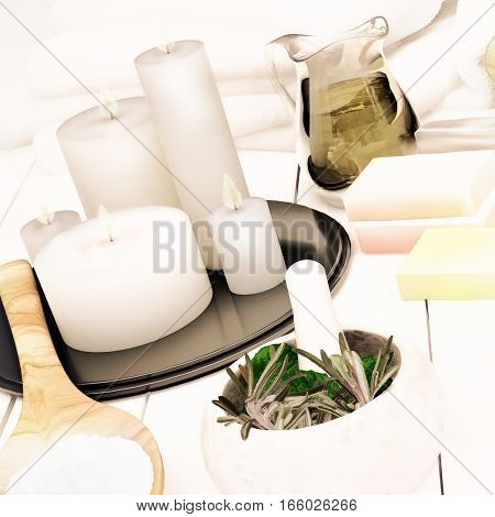 Spa still life with burning candles.  3D illustration
