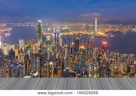 Opening wooden floor Hong Kong city lights night view from the Peak point of view