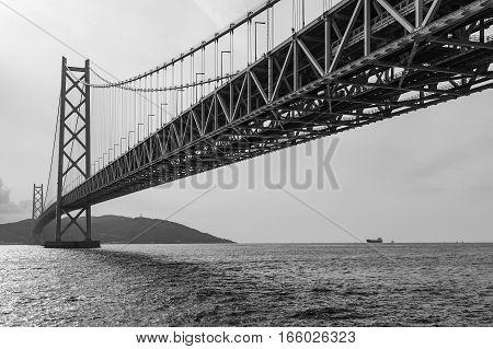 Black and White Akashi Kaikyo Suspension Bridge in Kobe Japan The world's longest suspension bridge.