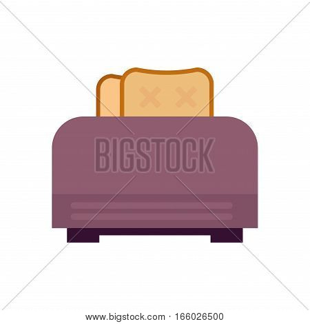 Old fashioned toaster vector illustration. Kitchenware appliance hot symbol electric tool. Domestic electrical cooking stove household technology.