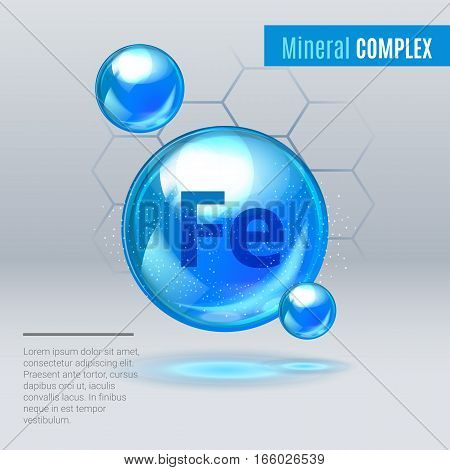 Mineral Fe Ferum Blue Shining Pill Capcule Icon . Mineral Vitamin Complex With Chemical Formula . Sh