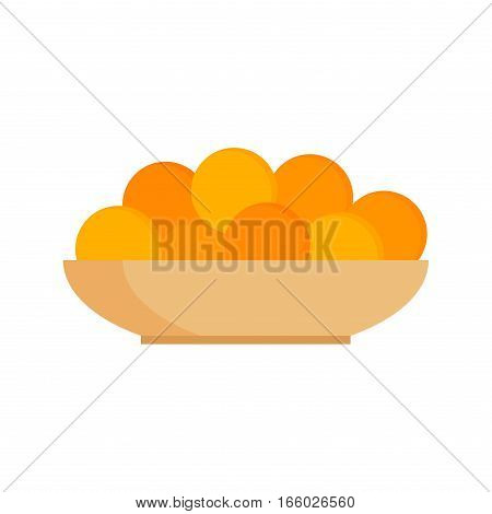Fresh tangerines oranges on plate vector illustration. Mandarin tangerine diet organic mandarine piece. Healthy food fresh juicy freshness tropical citrus.