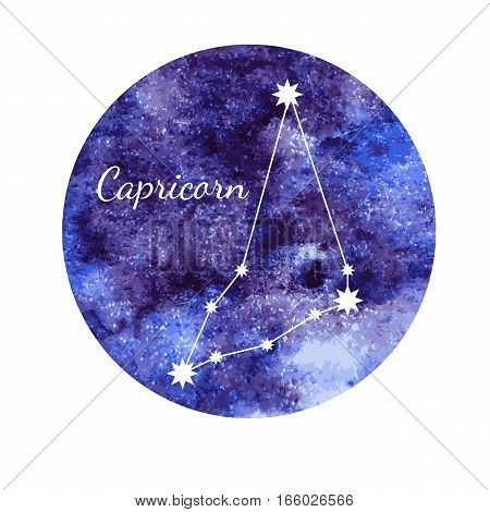 Beautiful vector illustration of watercolor horoscope sign Capricorn