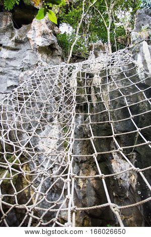 web ladder in Masungi Reservoir, Rizal, Philippines