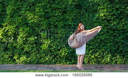 Young Woman, Green Wall; Plant, Boho Style, Beauty, Dream, Love, Dance