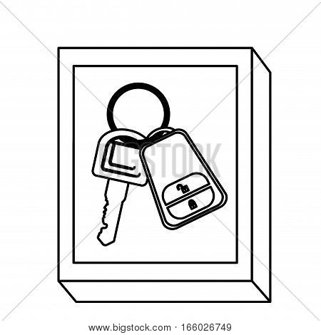 silhouette rectangle button with keys and keychain vector illustration