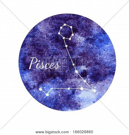 Beautiful vector illustration of watercolor horoscope sign Pisces