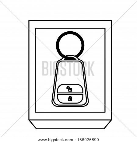 silhouette rectangle button key alarm system car vector illustration