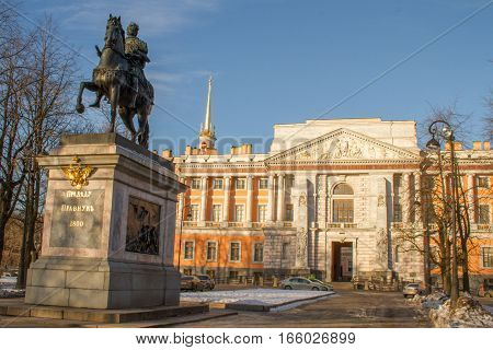 The St. Petersburg 01/20/2017: grand entrance to the Mikhailovsky Castle (Engineer), the residence of Peter 1