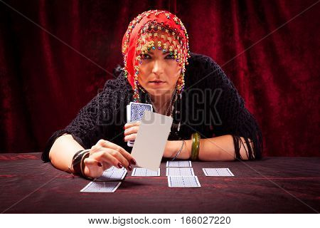 crazy fortune teller with blank tarot card - easily add your own message or design.
