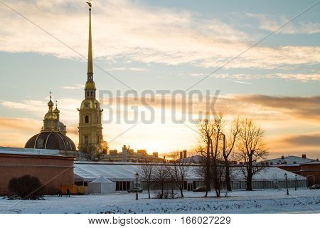 Saint Petersburg 01/20/2017: Sunset on the Neva River with a view of the Peter and Paul Fortress