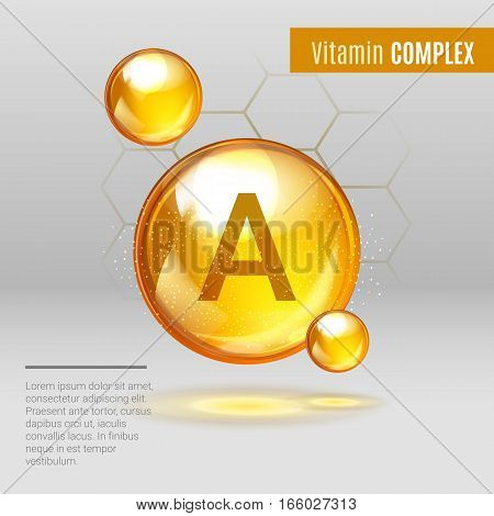 Vitamin A Gold Shining Pill Capcule Icon . Vitamin Complex With Chemical Formula ,retinol Retinol, R