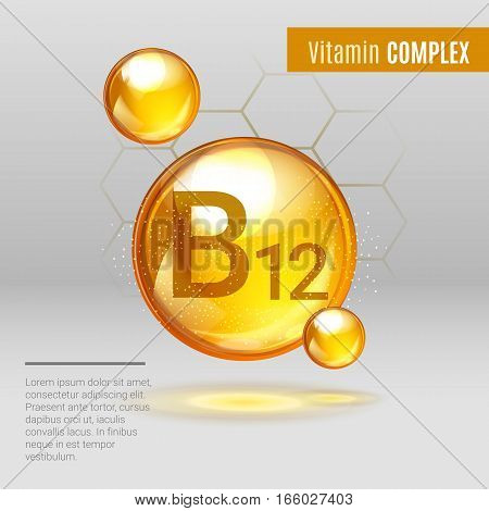 Vitamin B12 Gold Shining Pill Capcule Icon . Vitamin Complex With Chemical Formula, Group B, Cyanoco