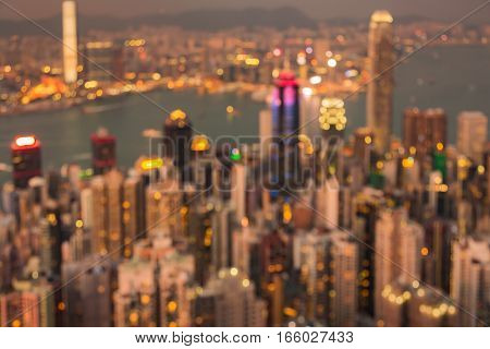 Night blurred lights aerial view Hong Kong city abstract background