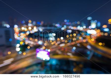 Blurred ligths highway interchanged aerial view abstract background