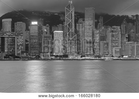 Black and White Hong city downtown over Victoria Bay