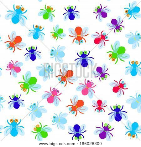 Seamless pattern Funny fly colorful red green blue violet pink with transparent wings on white background. Vector illustration