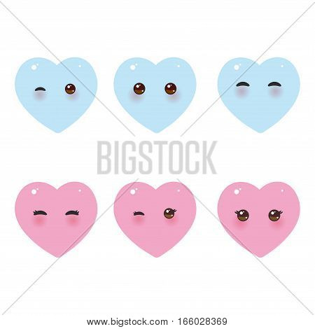 Kawaii funny pink blue hearts with pink cheeks and winking eyes on white background. Vector illustration