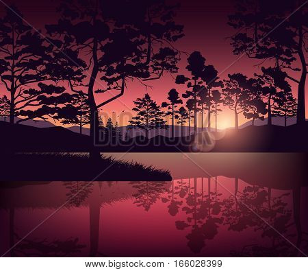 Stock vector illustration nature backdrop of mountains and lake landscape with silhouette of trees at dawn or sunset on background of violet sky for brochure, banner, website, printed materials, card