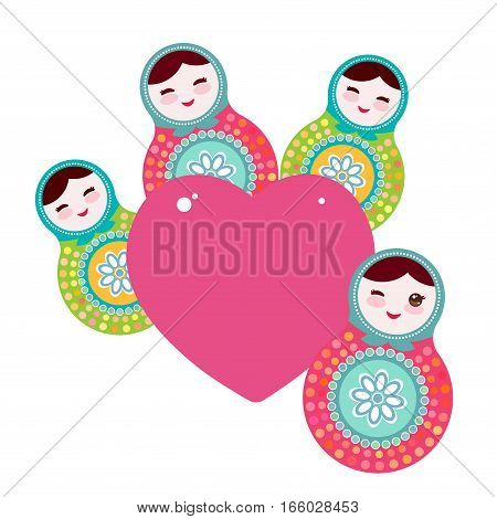 Russian dolls matryoshka, pink blue green colors. Card design pink heart on a white background. Vector illustration