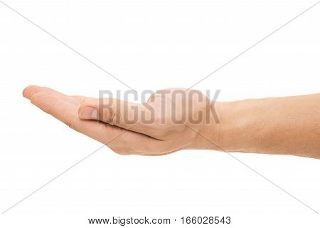 Human hand sign isolated on white background