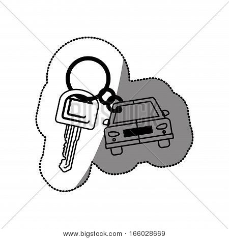 silhouette dotted sticker with keys and car keychain icon vector illustration