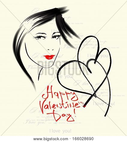 Card of Valentine's Day with a sketch of the girl's face hearts and congratulation.