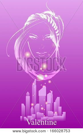 glamor girl on a pink background with city