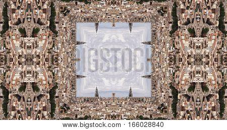 Geometric composition of city of Toledo, Spain, surrealism abstract, photography kaleidoscopic, skyline