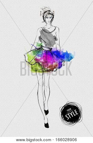 Fashion Woman Model With Colorful Skirt In The Style Of A Watercolor Drawing.