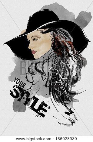 Abstract Fashion Woman. Model With A Black Hat. Illustration In The Style Of Drawing And Watercolor
