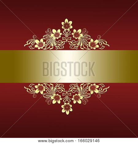Elegant red border with golden floral ornament for wedding invitation or greeting card to anniversary